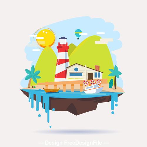 Island cartoon illustration vector
