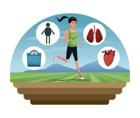 Jogging fitness cartoon vector