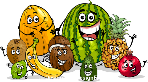 Joy fruit cartoon expression vector