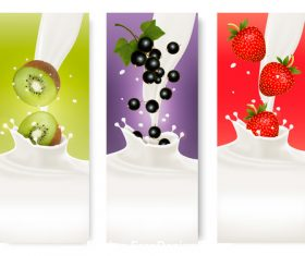 Kiwi and strawberry splash in milk vector