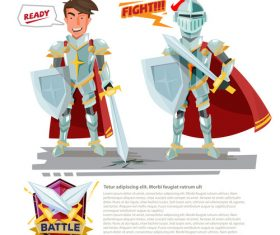 Knight cartoon illustration vector