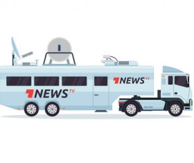 Large News Broadcast vehicle vector