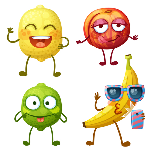 Lemon and banana fruit cartoon expression vector