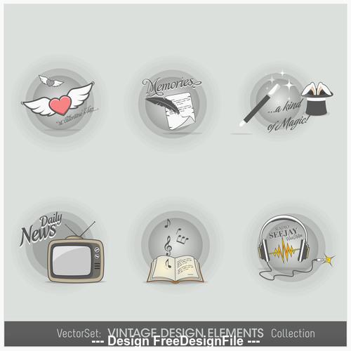Life elements labels vector