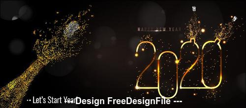 Light up 2020 New Year greeting card vector
