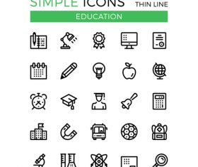 Line education icons silhouette vector