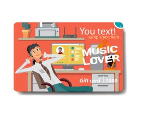 Listen to music card vector