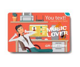 Listen to music card vector