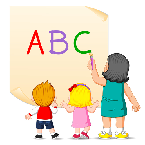 Literacy cartoon illustration vector