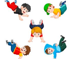 Little boys turn a somersault cartoon illustration vector