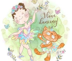 Little girl and cat dancing cartoon vector