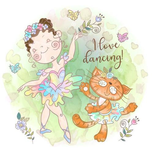 Little girl and cat dancing cartoon vector