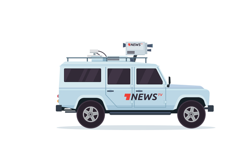 Live News broadcasting vehicle vector