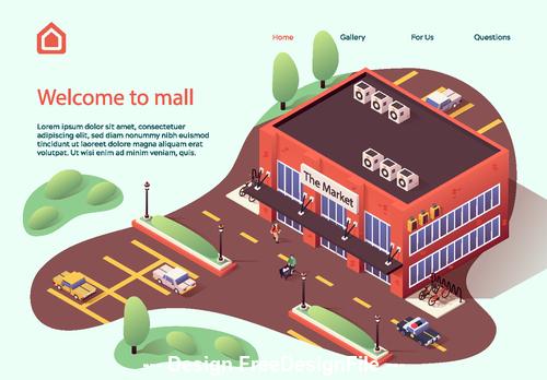 Mall cartoon illustration vector