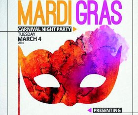 Mardi Gras PSD Flyer template and Facebook Cover   Version