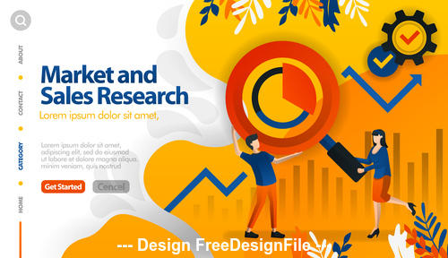 Market sales research business template vector
