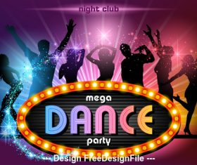 Mega dance party poster vector