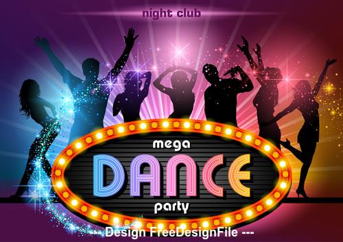 Mega dance party poster vector
