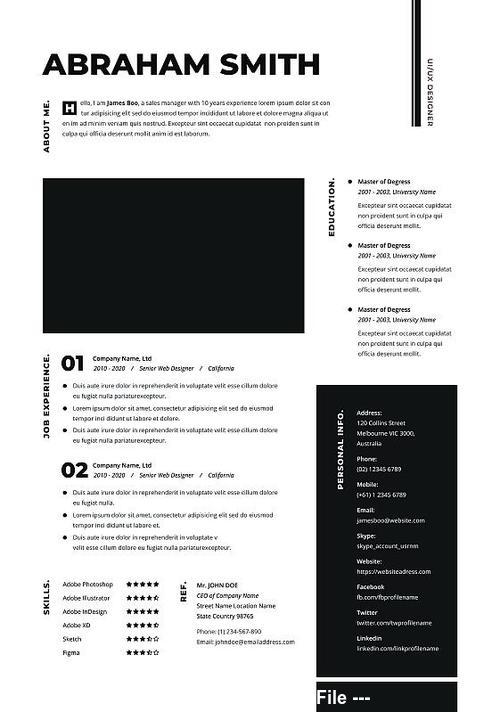 Minimal Resume Cv PSD Template
