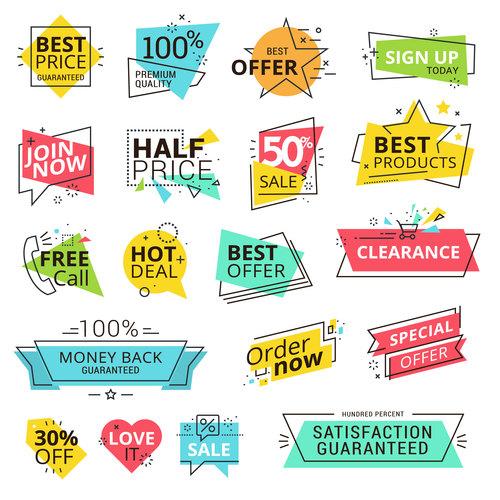 Modern Illustration sale labels vector