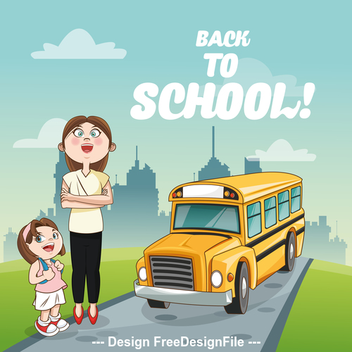 Mom and child waiting for school bus cartoon vector