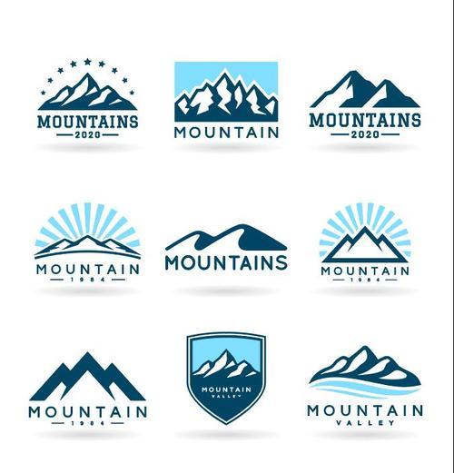 Mountains logo Icons vector