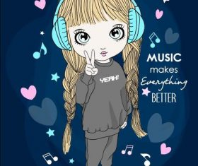 Music makes better cartoon vector
