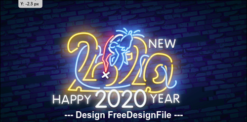 Neon Happy 2020 year vector