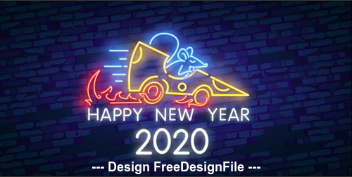 Neon Happy rat new year 2020 vector