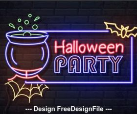 Neon illustration halloween banner vector