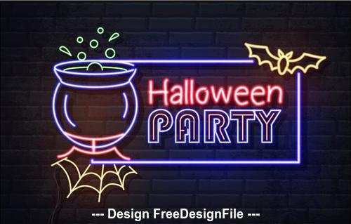 Neon illustration halloween banner vector