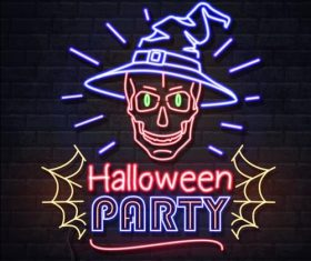 Neon illustration halloween ghost vector