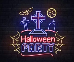 Neon illustration halloween vector
