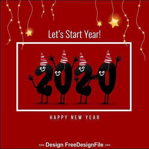 New year 2020 greeting card background vector