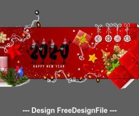 New year 2020 greeting card banner vector