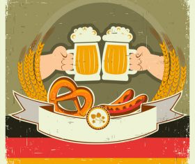Oktoberfest background with hands and beers vector