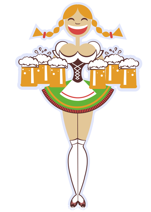 Oktoberfest woman with glasses of beer vector