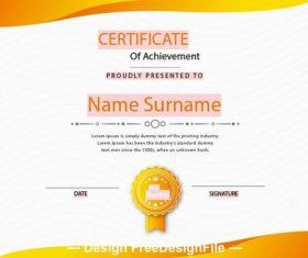 Orange background certificate templates vector