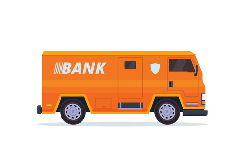 Orange bank security vehicle vector