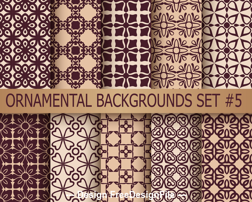 Ornamental patterns brown background vector