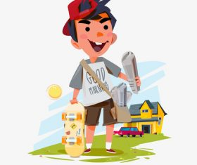 Paperboy cartoon illustration vector