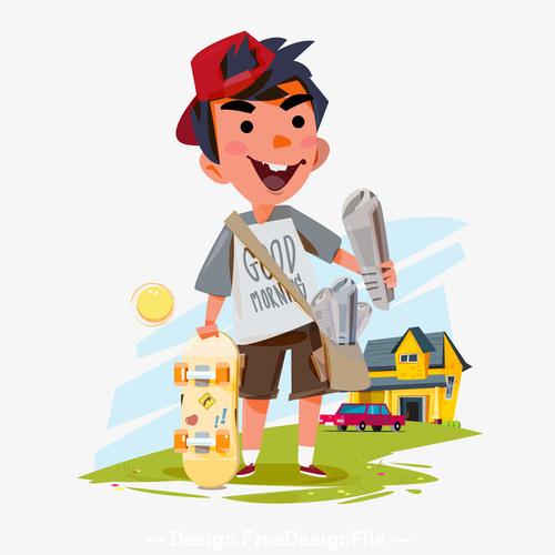 Paperboy cartoon illustration vector