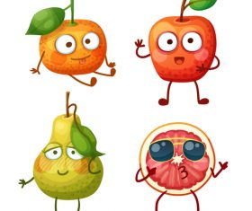 Pear and orange etc cartoon emoticons vector