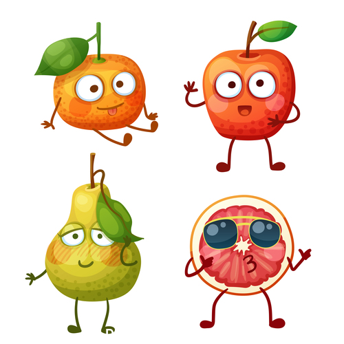 Pear and orange etc cartoon emoticons vector