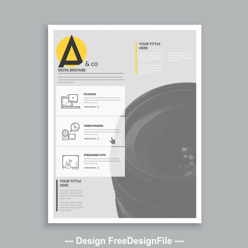 Photography brochure cover template vector