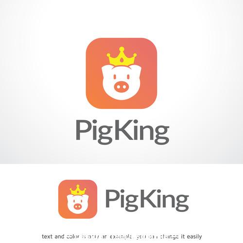 Pig king logo vector