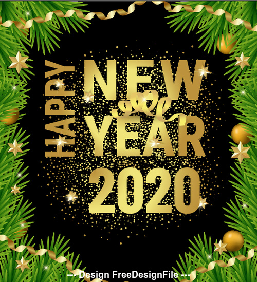 Merry Christmas Images 2020.Pine Branch Frame 2020 Merry Christmas Vector Free Download