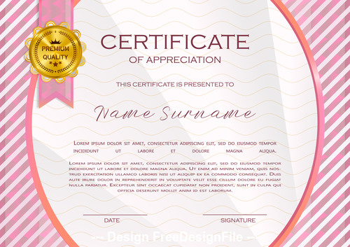 Pink border certificate template vector