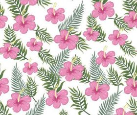 Pink flower and green leaves background seamless pattern vector