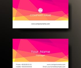Pink geometric pattern business card design vector